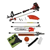NEW TRUESHOPPING® 52CC 'TOTAL GARDENERX5' PETROL LONG REACH MULTI FUNCTION 5 IN 1 GARDEN TOOL OREGON CHAIN & BAR INCLUDING: HEDGE TRIMMER, STRIMMER, BRUSHCUTTER, CHAINSAW & FREE EXTENSION POLE 2.2KW / 3HP
