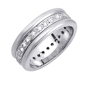 0.56ct White Diamonds Platinum Men's Contemporary Eternity Canal Wedding Band (8mm) Size-12.5