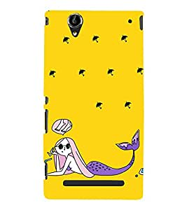 Girl at Beach Animation 3D Hard Polycarbonate Designer Back Case Cover for Sony Xperia T2 Ultra :: Sony Xperia T2 Ultra Dual SIM D5322 :: Sony Xperia T2 Ultra XM50h