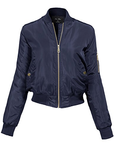 Plus Size Warm Solid Color Classic Padding Bomber Jackets,NAVY,XL