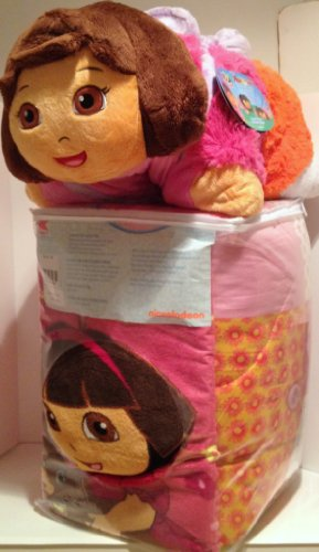 "Dora The Explorer Ultimate Toddler Gift Set: Twin Dora & Puppy Comforter With Blankie & 18"" Dora Pillow Pet"
