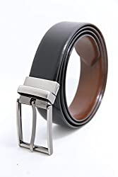 The Clownfish Men's Leather Reversible Black & Brown Belt (TCFTLBFZ 2)