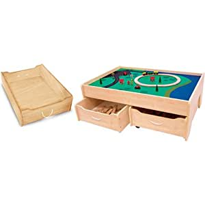 Amazon Com Train Table Trundle Drawer Natural Toys Amp Games