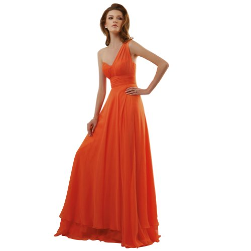 GEORGE BRIDE Oragnge Sheath/ Column One Shoulder Floor Length Chiffon Evening Dress