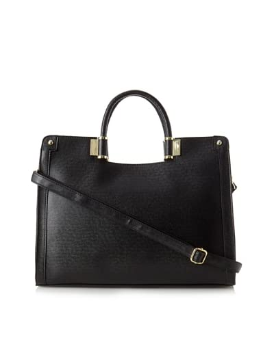 Ivanka Trump Women's Rose Saffiano Top Handle Satchel, Black As You See