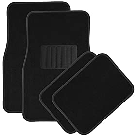 "OxGordu00ae 4pc Full Set Heavy Duty ""DELUXE"" Carpet Floor Mats, Universal Fit Mat for Car, SUV, Van & Trucks - Front & Rear, Driver & Passenger Seat (Black)"