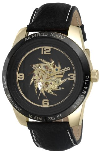 Akribos XXIV Men's AK448YG 'Shutter' Automatic Skeleton Round Gold Watch