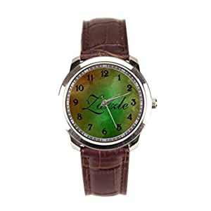 Dr. Koo Green Rhinestone Watches On Wrist Brown Green Watercolors Leather Band Watches Mens