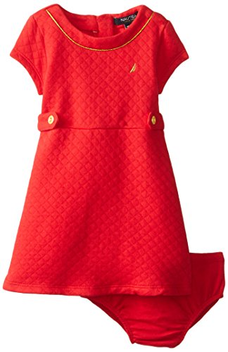 Nautica Baby-Girls Infant Quiletd Double Knit Dress, Dark Red, 18 Months back-1059640