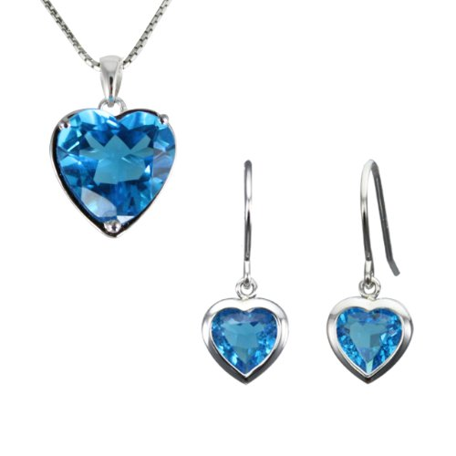 """Ocean's Heart-Shaped Aquamarine Cubic Zirconia Platinum Overlay Sterling Silver Pendant Necklace & Earrings Set (8.5 ct) (18"""")"""