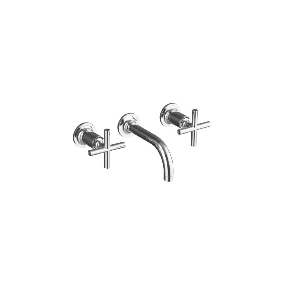 Kohler Purist Brushed Bronze Wall Mount Bathroom Sink Faucet w/ 6 Spout + Cylinder Cross Handles