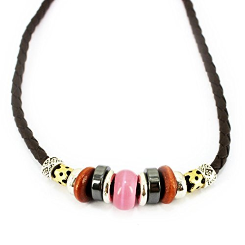 MORE FUN Charm Opal Brown Wood Beads Leather Adjustable Woven Braided Rope Necklace (Pink)