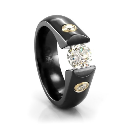 Ladies black titanium amp diamond tension set engagement ring
