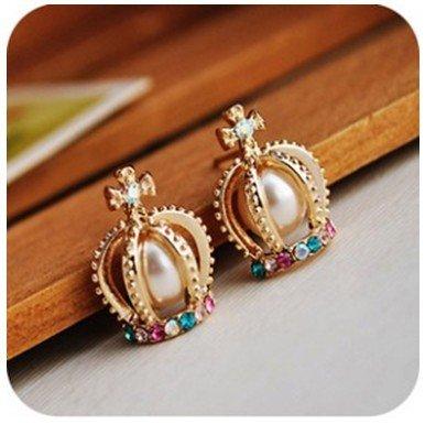 Elegant Style Pearl Cross Diamond Rhinestone