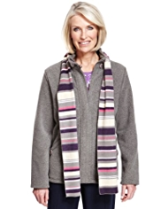 Classic Soft Touch Funnel Neck Fleece Jacket with Scarf