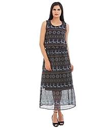 VAAK Women's Printed Long Dress 100% Polyester(XL)