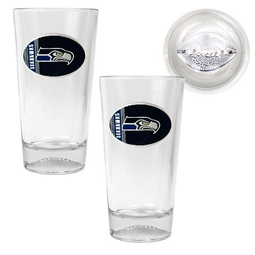 NFL Seattle Seahawks Two Piece Pint Ale Glass Set with Football Bottom - Oval Logo at Amazon.com