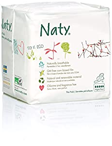 Naty Nature Womencare Overnight Period Pads Chlorine-Free / Fragrance-Free / Made of Natural and Renewable Materials / 4 Packs of 10 Pads Each