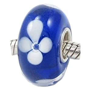 White Hawaiian Flowers on a Bright Blue European Murano Style Glass Bead Charm with Solid Sterling Silver Single Core Stamped 925 Fits Pandora Biagi Chamilia Troll Bracelets