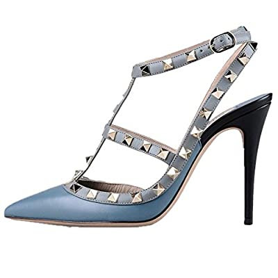 Asma Argento Women Handmade Fashion STUDS ANKLE STRAP 100MM Pointed Toe Buckle Pumps High Heels Court Shoes