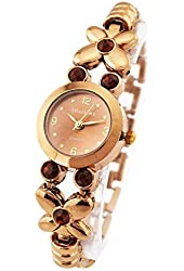 Womens Ladies Bronze Stainless Watches Butterfly Bracelet with Gem Elegant Waterproof Wrist Watches