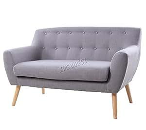 FoxHunter Linen Fabric 2 Seat Sofa Settee Dining Living