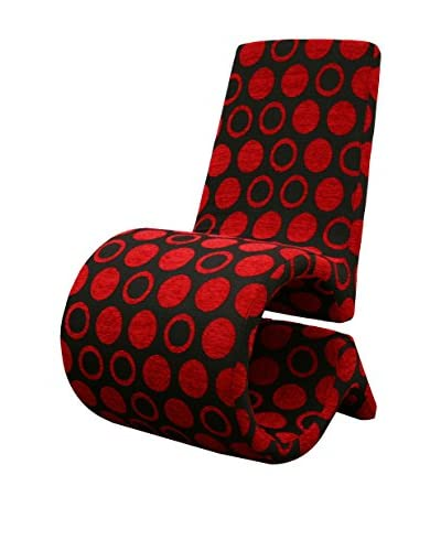 Baxton Studio Forte Fabric Accent Chair, Black/Red