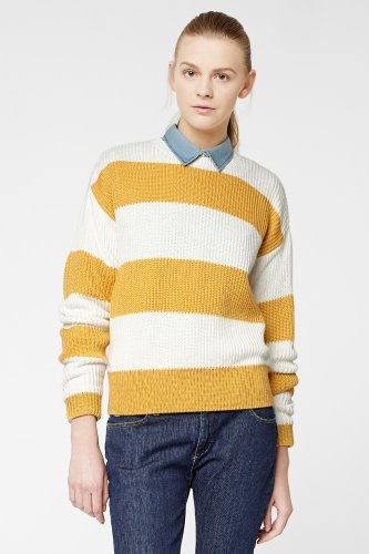 L!VE Long Sleeve Bold Bi-Color Stripe Crewneck Sweater