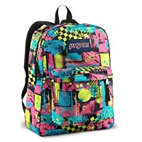 JANSPORT SUPERBREAK BACKPACK SCHOOL BAG - Black/ Fluorescent Street Scene- 9VD
