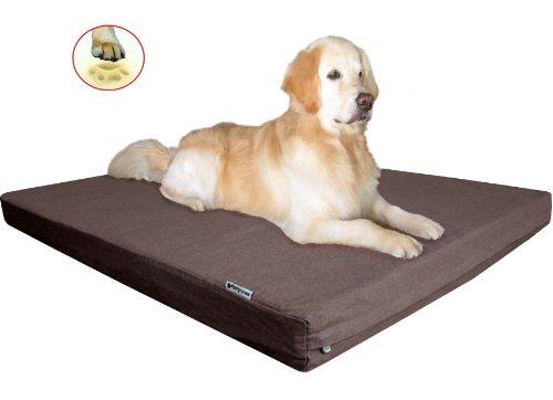 "Heavy Duty Large Waterproof Orthopedic Memory Foam Pet Dog Bed With Denim Brown Cover + Free Bonus Case 41""X27"""
