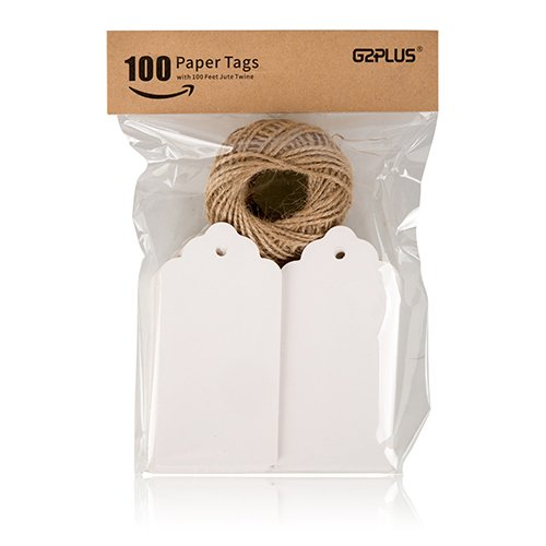 G2PLUS 100 PCS Paper Gift Tags with String Wedding Rectangle Hang Tags Bonbonniere Favor Gift Tags Price Tags Labels with 30 Meters Jute Twine for Crafts (White)