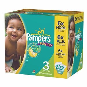 Pampers Baby Dry Pampers Baby Dry Diapers, Economy Plus Pack, Size 3, 16-28 lbs 222 ct (Quantity of 1)