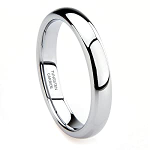 Tungsten Carbide 4MM Plain Dome Wedding Band Ring Sz 9.0