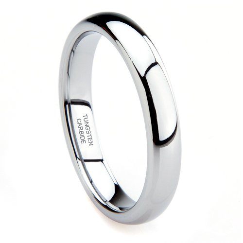 Tungsten Carbide 4MM Plain Dome Wedding Band Ring Sz 7.0