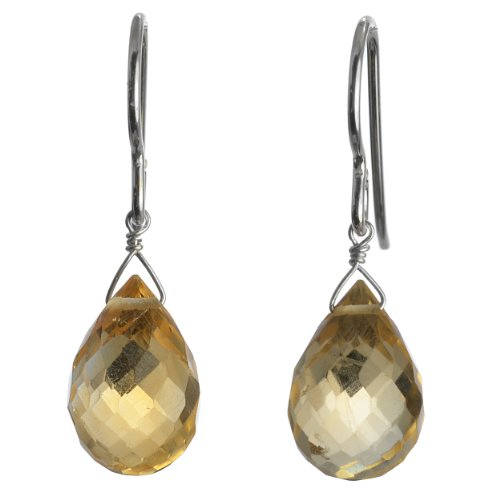 Ashanti Sterling Silver Golden Yellow Citrine Briolette Natural Gemstone Dangle Handmade Earrings - Free Overnight Shipping