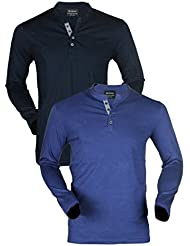 Maniac Navy Blue And Black Cotton T-shirt - Pack Of 2