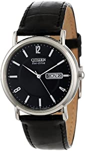 """Citizen Men's BM8240-03E """"Eco-Drive"""" Stainless Steel and Black Leather Watch by Citizen"""