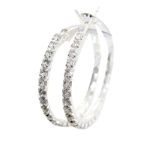 Zehui Clear Rhinestone Round Crystal Swarovski Earring Hoop Circle Silver Dia 4cm