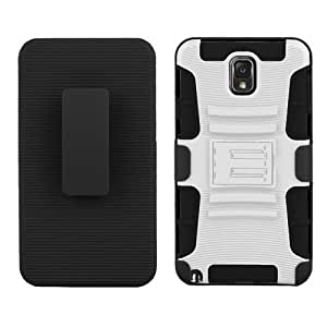 C&E Shell Case Armor Combo for Samsung Galaxy Note 3 - Non-Retail Packaging - White/Black