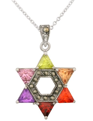 """JanKuo Jewelry Rhodium Plated Multicolor CZ Jewish Star of David Pendant Necklace, 16"""" +2"""" Extender"""