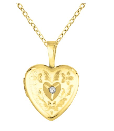 Gold over silver 0.01ct White Diamonds SS & Yg Heart Shaped Locket w/ Dia Necklace (G-H, SI1-SI2)