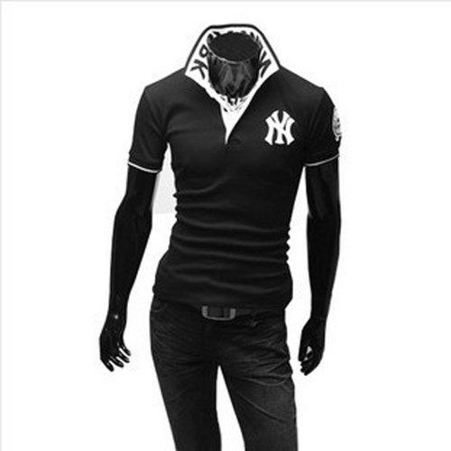 (ライセンス)RAiseNsE 半袖 ストリートポロシャツ スタンドカラー Tシャツ カットソー #TP102 L ブラック