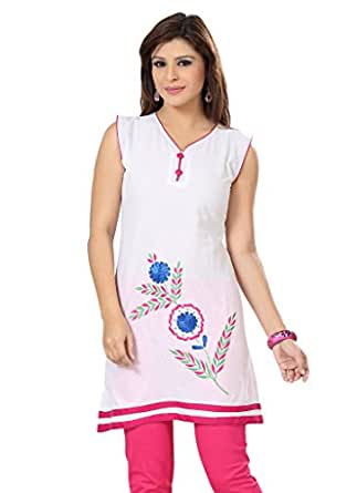 ISHIN Poly Cotton White kurti available at Amazon for Rs.1499