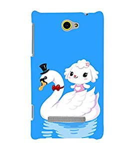 printtech Cute Duck Water Girl Back Case Cover for HTC Windows Phone 8S