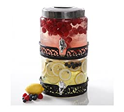 Gibson Home San Louis 0.8 gal Stackable Glass Drink Dispenser, Glass, 2-Pack by Gibson Oveseas Inc.