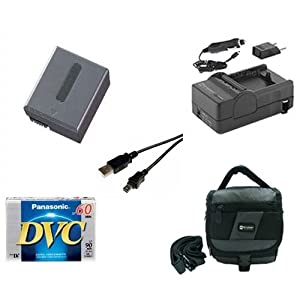 Sony DCR-PC350 Camcorder Accessory Kit includes: SDM-102 Charger, SDNPFF70 Battery, SDC-27 Case, DVTAPE Tape/ Media, USB5PIN USB Cable