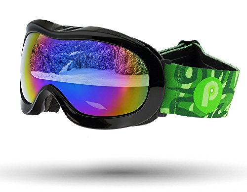 Picador Ski & Snowboard Goggles with Dual Layer Anti-Fog Lens for Kids (Black)