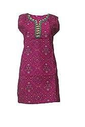 Tulip Collections Women's Bandhani Cotton Kurti (Pink)