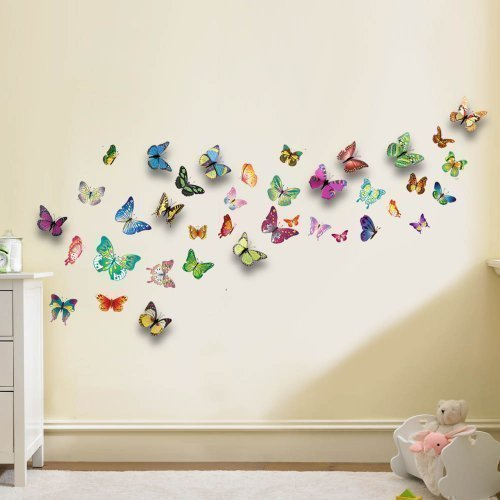 Walplus WS3013 Butterflies Plus WS1022 3D Colourful Butterfly Wall Sticker Combo Pack, Multi-Colour