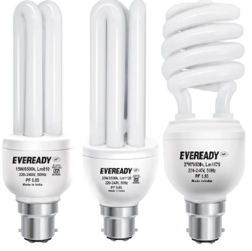 Eveready BHK 20, 27 and 15-Watt CFL Bulbs (White, Pack of 3) Image